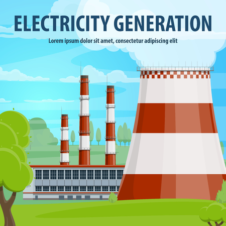 Electricity generation poster with power station Stockfoto - 104209381