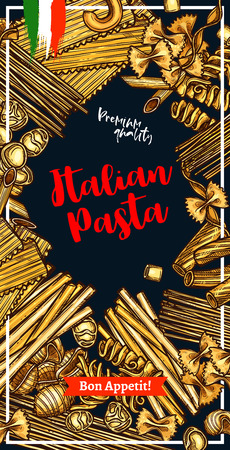 Italian pasta banner with macaroni and spaghetti frame border. Spaghetti, penne and farfalle, fusilli, rigatoni and conchiglie, noodle, gnocchi and fettucini sketch label for mediterranean food design