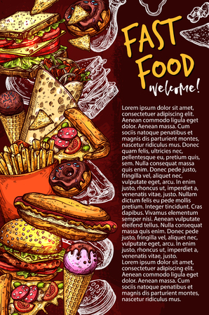Fast food restaurant banner with junk meal sketch
