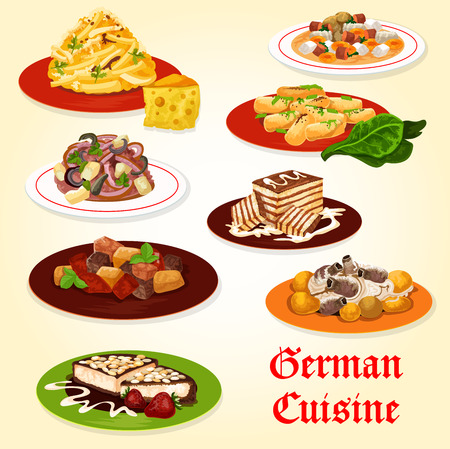 German cuisine icon of bavarian food dinner with dessert. Potato sausage soup, beef pepper stew and pork ribs with cabbage stew, fruit cheese salad, potato dumplings, cheesecake and biscuit cake