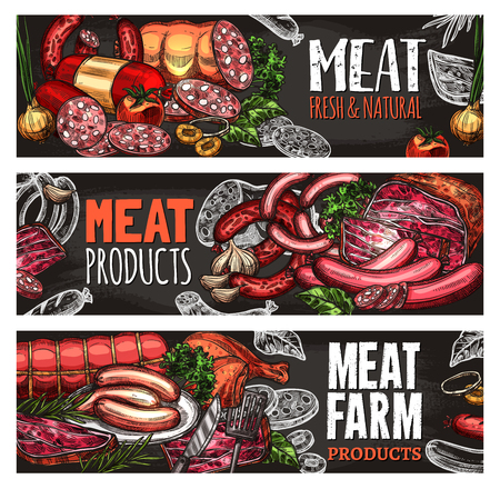 Meat and sausage blackboard banner for food design