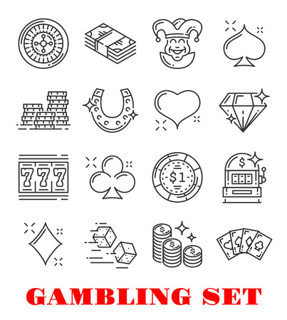 Gambling sport thin line icon set of casino and card game design. Poker, money and roulette, dice, chip and jackpot, slot machine, gold coin and heart, diamond, club and spade card suit symbol