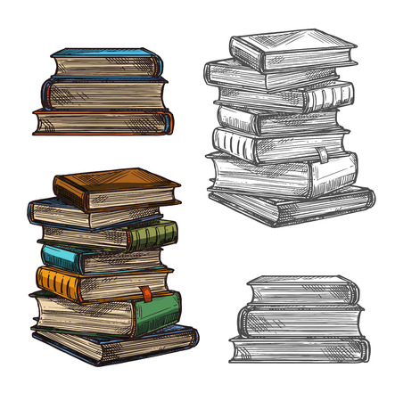 Book stack sketch for education, literature or school library themes design. Pile of book or textbook with colorful cover and bookmark icon for bookstore label or knowledge and wisdom concept