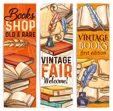 Bookshop sketch banner of old and rare book Stok Fotoğraf - 104209391