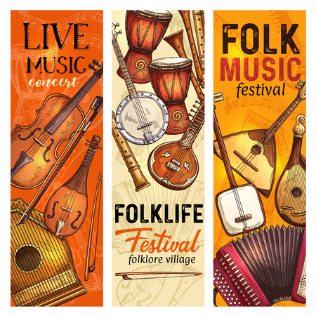 Musical instrument banner for live music and folk festival template. Ethnic instrument flyer with italian viola, indian sitar and american banjo, african drum, russian balalaika and accordion sketch