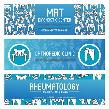 Medicine banner set of rheumatology and orthopedic clinic template. Human skeleton anatomy bone and joint with hand, knee and foot, pelvis, shoulder and leg for medical diagnostic center flyer design