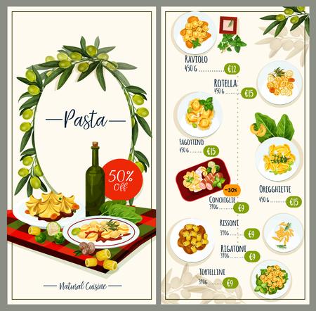 Pasta menu of Italian cuisine restaurant tempalte  イラスト・ベクター素材