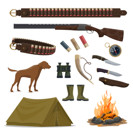 Hunter weapon and equipment icon set for hunting sport design. Rifle, knife and gun, hunting dog, shotgun and bullet, cartridge belt, compass and binoculars, tent, campfire, boots and horn symbols