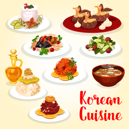 Korean cuisine asian food icon with meat and fish dish. Fresh beef and salted trout, served with rice, cucumber salad and pork kimchi soup, baked carp with vegetable, beef stew in radish pot and cake