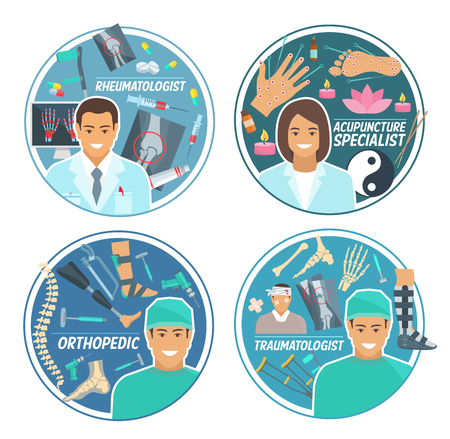 Doctor icon set with traumatologist, rheumatologist, orthopedic surgeon and acupuncture specialist. Physician, medical personnel round badge with pill, medicines and instrument for health care design