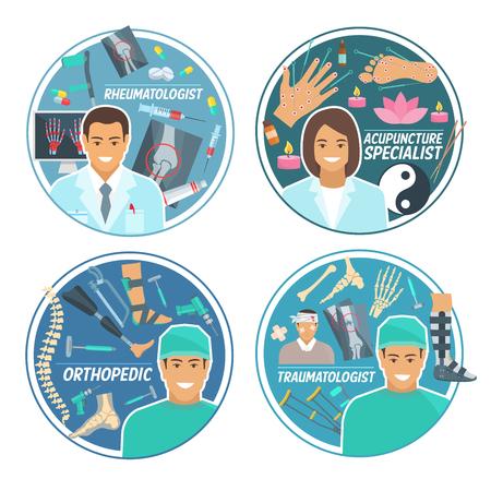 Zestaw ikon lekarza z traumatologiem, reumatologiem, chirurgiem ortopedą i specjalistą od akupunktury. Lekarz, personel medyczny okrągła odznaka z pigułką, lekami i instrumentem do projektowania opieki zdrowotnej