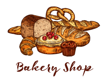 Bakery shop sketch of wheat bread and sweet pastry. Loaf of rye bread, french baguette and croissant, chocolate cupcake, fruit pie and bavarian pretzel poster for bakery and pastry food label design 向量圖像
