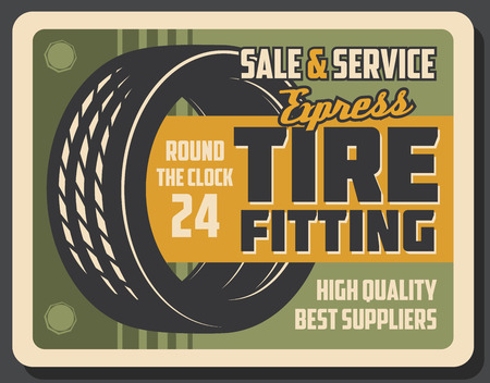 Tire fitting center retro banner for car service or repair shop template. Auto tire vintage promo poster with rubber covering of vehicle wheel for garage or maintenance station flyer design