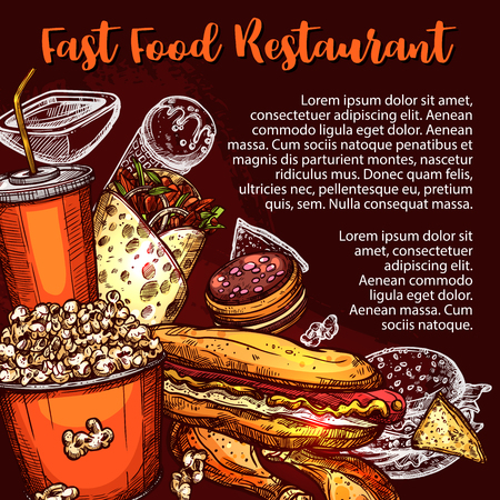 Fast food restaurant menu cover with fastfood sandwich, drink and dessert sketch. Hamburger, hot dog and chicken leg, soda, ice cream and cake, mexican nacho and meat burrito poster design Illustration