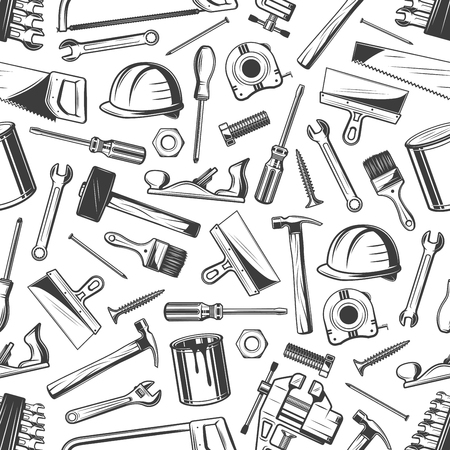 Modèle sans couture d'outil de travail d'équipement de réparation Vecteurs