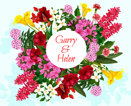 Flower wreath greeting card for wedding invitation and save the date design. Tulip, peony and jasmine, calla lily, azalea and phlox, carnation and delphinium floral frame of blooming garden plant