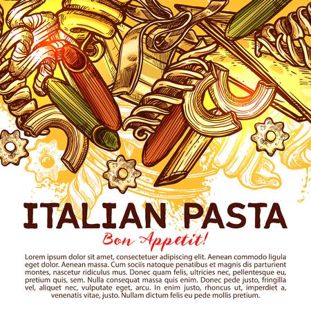 Carta di pasta italiana con cibo tradizionale d'Italia