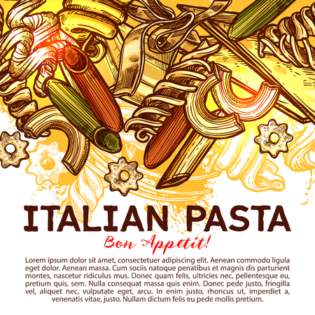 Italian pasta card with traditional food of Italy Illustration