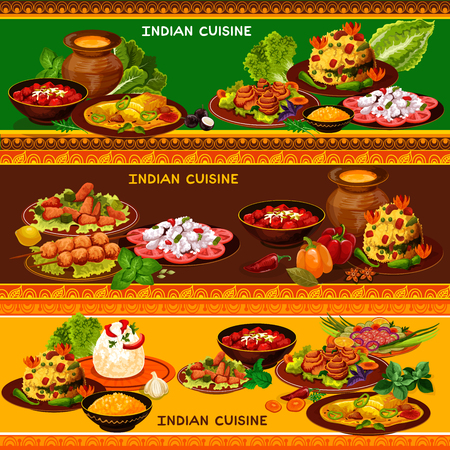 Indian cuisine restaurant banner set with ethnic asian menu. Vegetable, chicken meat and fish salad, vegetarian rice pilaf and grilled chicken, baked fish with spicy sauce and carrot dessert with nuts