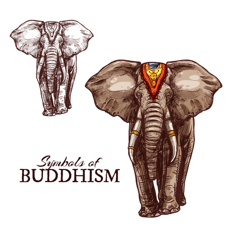 Indian elephant sketch of buddhism religion animal