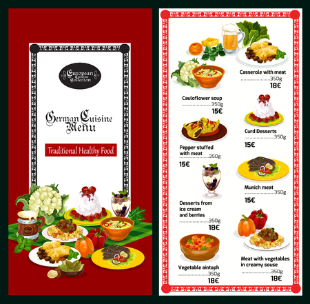 German cuisine restaurant menu template of traditional bavarian food and drink. Meat stew and casserole with vegetable, steak, beer, cabbage soup and pasta with cheese sauce, fruit and cream dessert