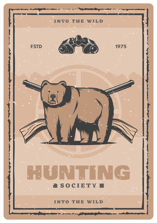 Hunting for bear vintage poster for hunt club or open season. Vector retro design of wild bear in target aim with hunter rifle guns or carbines for hunting society adventure