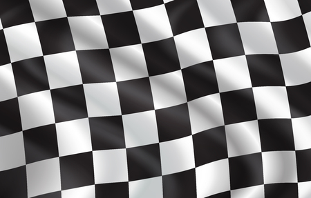 Checkered flag for car racing or rally club. Vector 3D checkered pattern background of white and black squares on waving flag for sport club or bike races competition in start and finish design 版權商用圖片 - 115046403