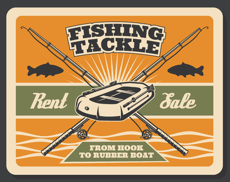 Fishing store for tackles and fisher baits equipment vintage poster. Vector retro design of fish rod and mackerel, trout or flounder catch, inflatable boat and paddles in sea or lake water Illustration