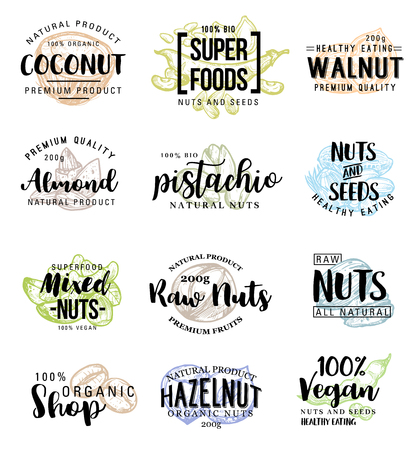 Nuts and beans names lettering for super food and snacks product package design. Vector set of coconut, peanuts, pistachios and walnuts, 100 percent natural nuts of cashew or almonds and filbert