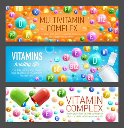 Vector banners of vitamins and multivitamins