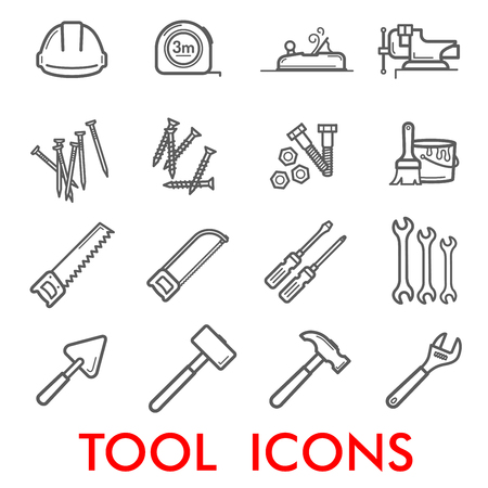 Tools thin line art icons for home repair and construction. Vector set of measure tape ruler or woodwork grinder and vise, nails and screws or paint brush and saw, screwdriver or spanner and hammer