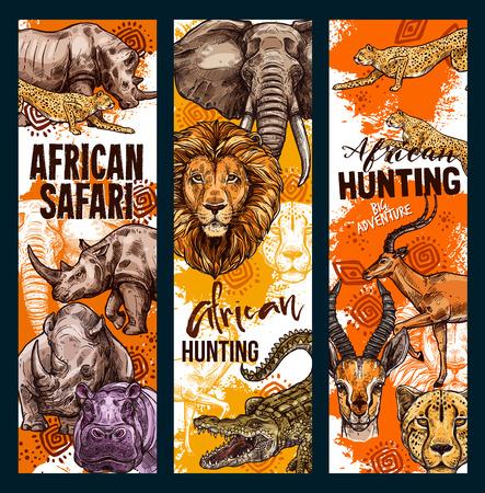 Vector African safari hunt animals banners