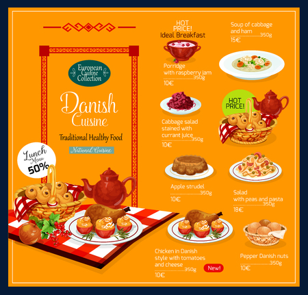 Danish cuisine traditional food menu. Vector lunch and breakfast offer for porridge with raspberry jam, cabbage and ham soup or peas and pasta salad with Danish pepper nuts