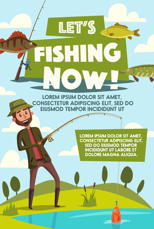 Fisherman on fishing vector poster for big fish catch. Vector cartoon design of man with rod at lake or river with tackles and baits for trout, perch or pike and salmon fishing Иллюстрация