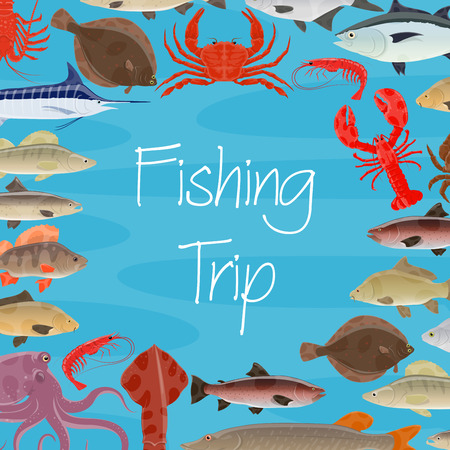 Fishing trip or fish and fisher seafood catch poster. Vector design of squid, turtle or tuna and shrimp, octopus or lobster crab and trout, sardine and herring or flounder and squid