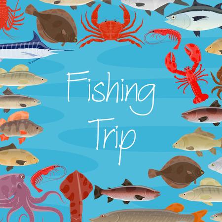 Voyage de pêche ou affiche de capture de fruits de mer de poisson et de pêcheur. Conception vectorielle de calmar, tortue ou thon et crevettes, poulpe ou homard crabe et truite, sardine et hareng ou flet et calmar