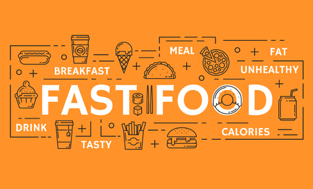 Fast food poster of fastfood thin line icons. Vector hot dog sandwich, cheeseburger and hamburger burgers, pizza or tacos and popcorn with soda and donut dessert for cinema bistro or restaurant design