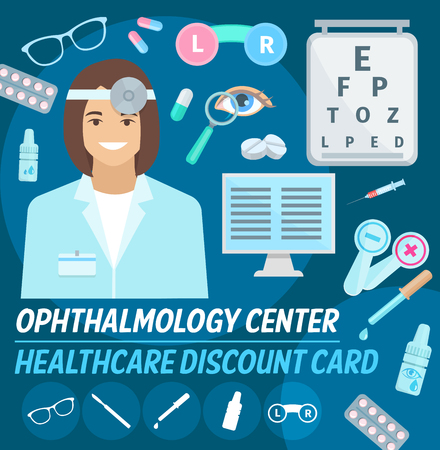Ophthalmology center discount card for vision checkup or medical examination. Vector design of ophthalmologist doctor, optical lenses or glasses, eye treatment dropper and pills