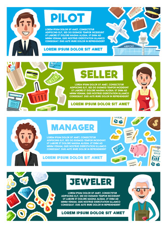 Profession workers of pilot, seller or manager and jeweler. Vector cartoon design of men and occupation items of aircraft plane, jewelry diamond rings or business money and shopping trade Illustration