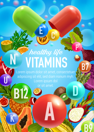 Vector poster of vegetables and fruits vitamins