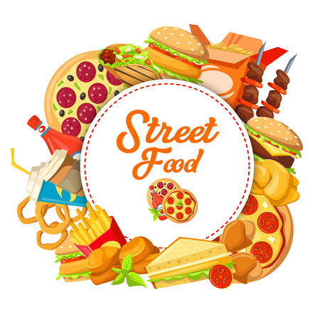 Street food or fast food poster for cinema bistro or restaurant takeaway and delivery design. Vector pizza, cheeseburger or hot dog and Mexican burrito, kebab barbecue and onion rings with fries Standard-Bild - 115046418