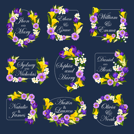 Wedding greeting card of blooming flowers for Save the Date design or engagement party invitation. Vector frames of blue crocuses and calla or lily blossoms with bride or bridegroom names Illustration