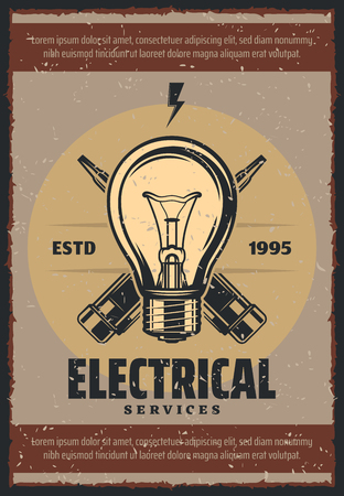 Electrical services vintage poster for electricity repair. Vector retro design of lamp light bulb and voltage tester screwdriver for energy and power industry on grunge background