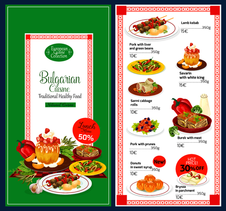 Bulgarian cuisine traditional food menu. Vector lunch offer for lamb kebab, pork and liver with beans, sarmi cabbage rolls or meat burek and Bulgarian brynza in parchment with donunts