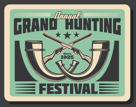 Hunting festival retro poster for hunter club or society annual hunt event or open season. Vector vintage design of crosses hunter rifle guns or carbine and horns for big animal trophy Illusztráció