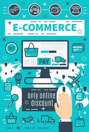 E-commerce and internet online shopping for online payment security. Vector design of user computer and credit card for money pay and secure transaction technology