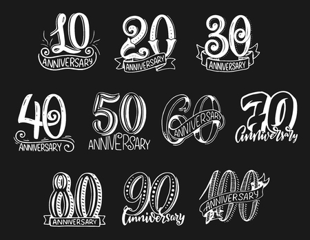 Vector lettering numbers for anniversary year