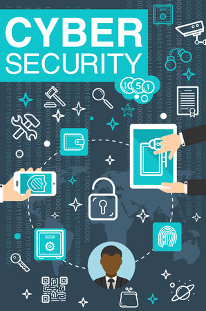 Internet cyber security and private data safety poster for online secure technology. Vector design of user computer and files encryption for web cloud personal access and fraud protection Illustration