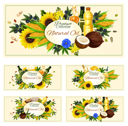 Cooking oils posters for farmer market product. Vector design of extra virgin olive, sunflower seed or coconut and flax or corn oil bottles for natural organic food Illustration