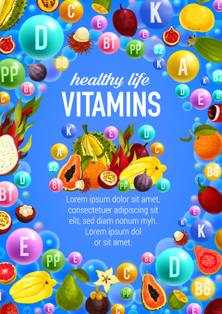 Vector vegetables and fruits vitamins Ilustracja